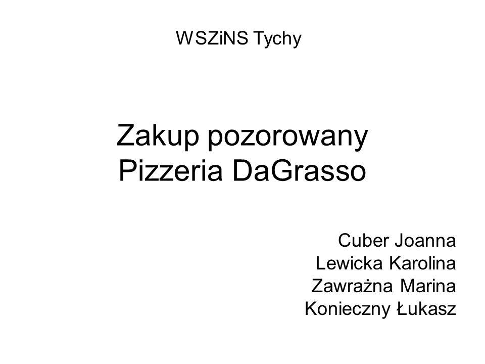 Zakup pozorowany Pizzeria DaGrasso Cuber Joanna Lewicka Karolina Zawrażna Marina Konieczny Łukasz WSZiNS Tychy