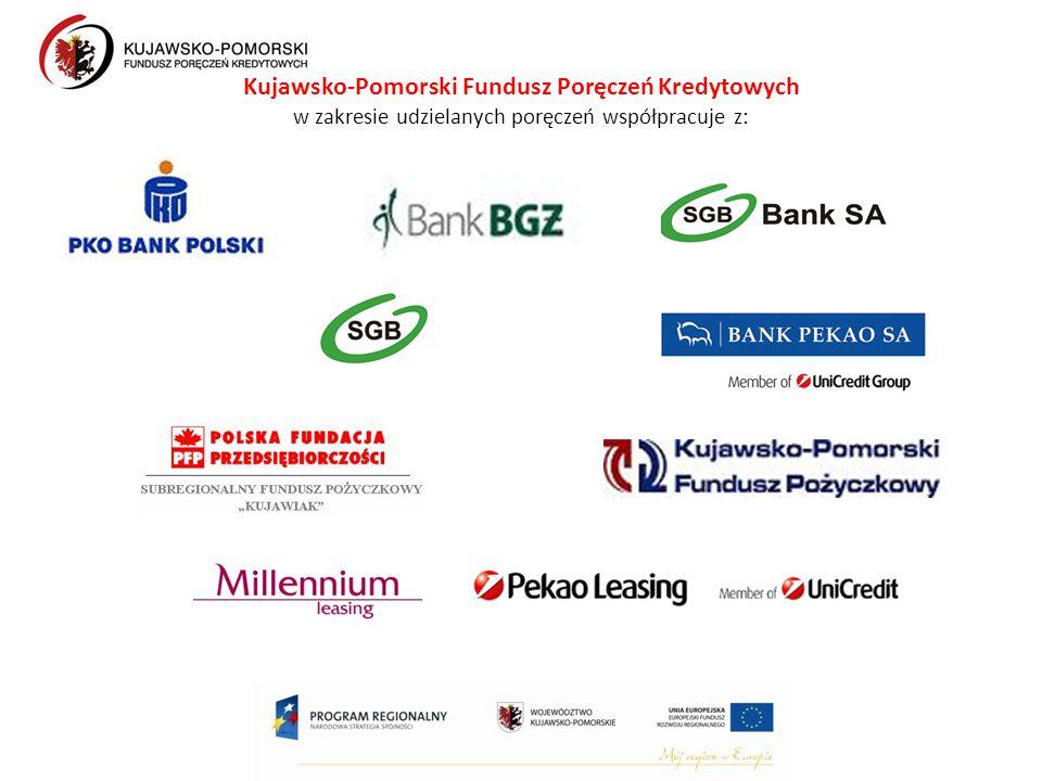 Kujawsko-Pomorski Fundusz Poręczeń Kredytowych w zakresie udzielanych poręczeń współpracuje z:
