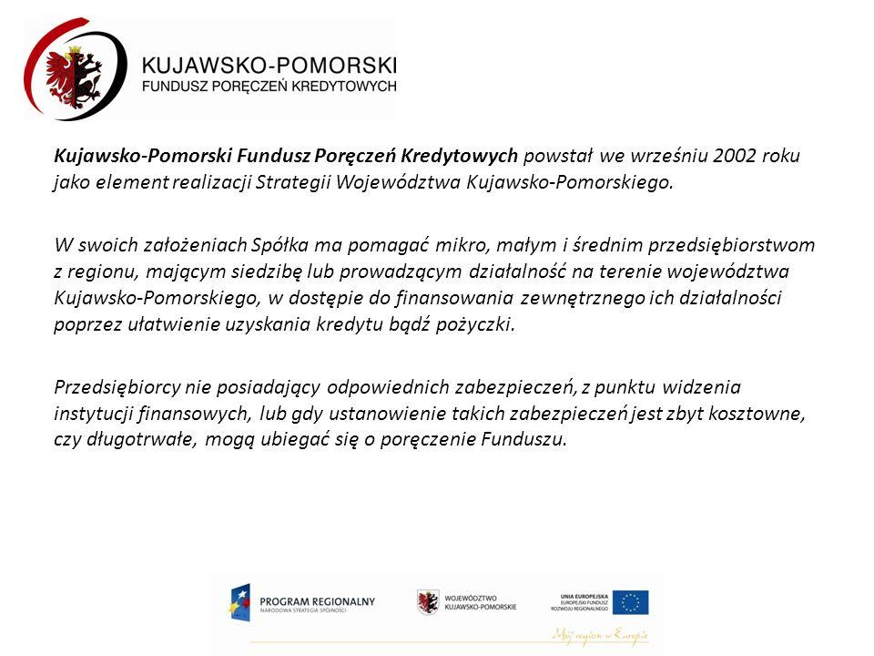 Kujawsko-Pomorski Fundusz Poręczeń Kredytowych powstał we wrześniu 2002 roku jako element realizacji Strategii Województwa Kujawsko-Pomorskiego.