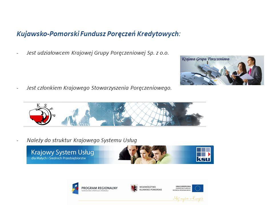 Kujawsko-Pomorski Fundusz Poręczeń Kredytowych: -Jest udziałowcem Krajowej Grupy Poręczeniowej Sp.