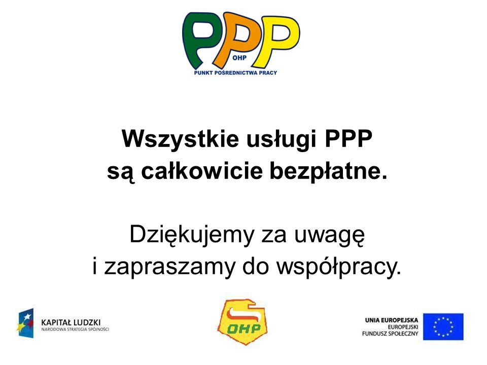 Wszystkie usługi PPP są całkowicie bezpłatne. Dziękujemy za uwagę i zapraszamy do współpracy.