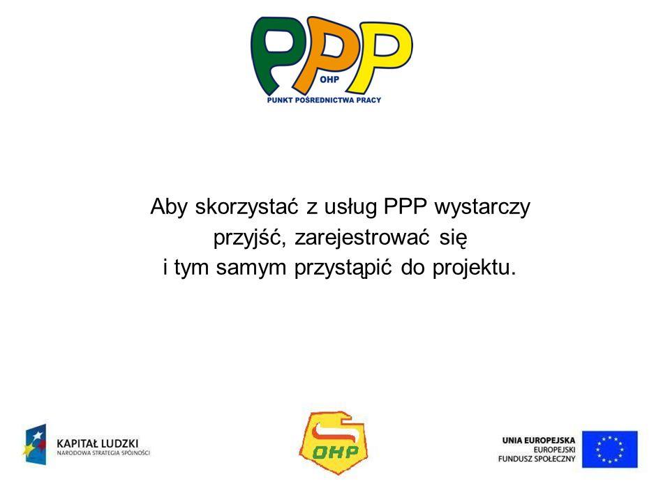 Aby skorzystać z usług PPP wystarczy przyjść, zarejestrować się i tym samym przystąpić do projektu.