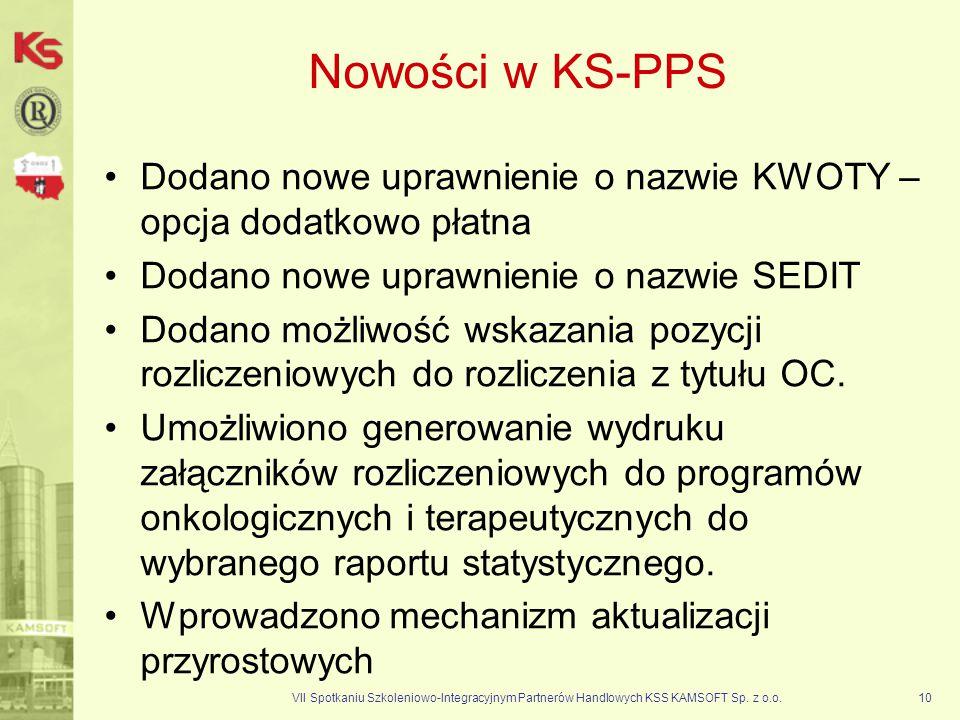 VII Spotkaniu Szkoleniowo-Integracyjnym Partnerów Handlowych KSS KAMSOFT Sp. z o.o.10 Nowości w KS-PPS Dodano nowe uprawnienie o nazwie KWOTY – opcja