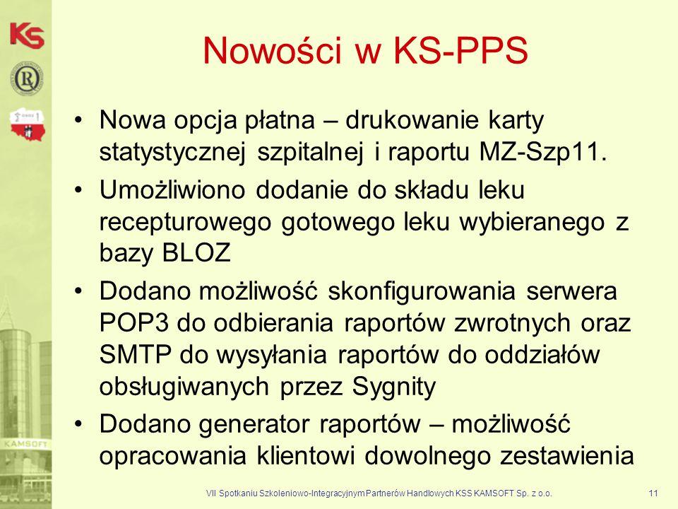 VII Spotkaniu Szkoleniowo-Integracyjnym Partnerów Handlowych KSS KAMSOFT Sp. z o.o.11 Nowości w KS-PPS Nowa opcja płatna – drukowanie karty statystycz