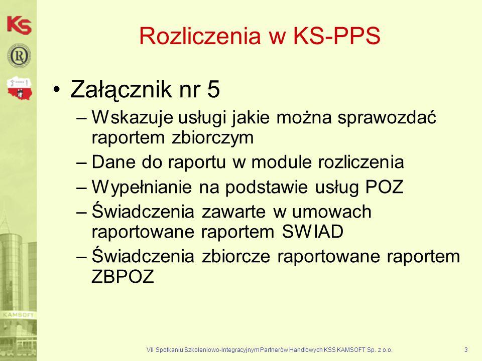 VII Spotkaniu Szkoleniowo-Integracyjnym Partnerów Handlowych KSS KAMSOFT Sp. z o.o.3 Rozliczenia w KS-PPS Załącznik nr 5 –Wskazuje usługi jakie można