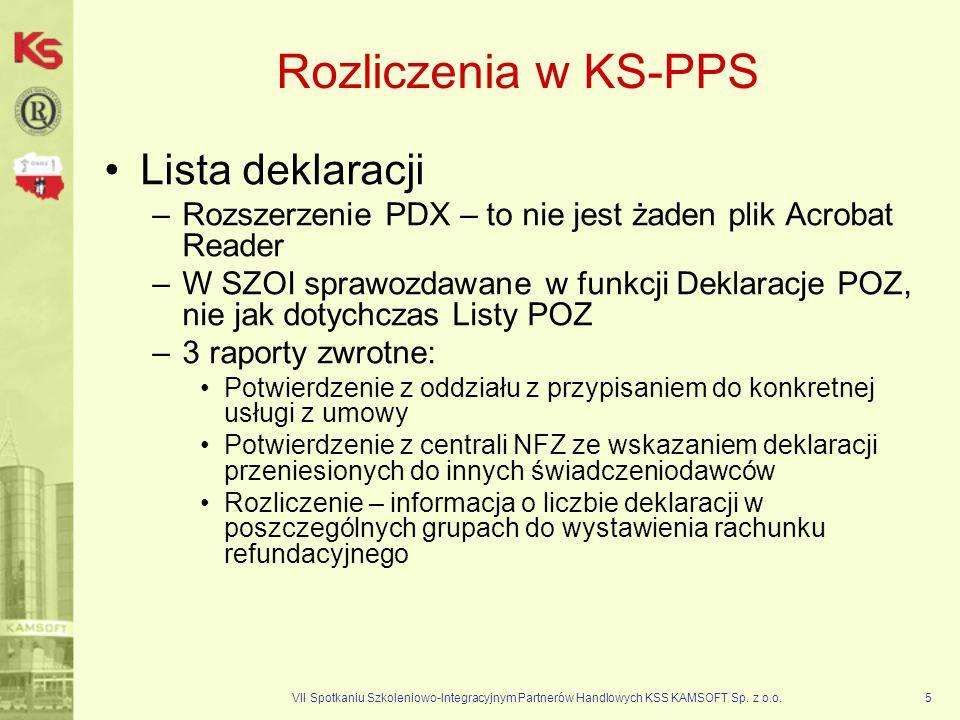 VII Spotkaniu Szkoleniowo-Integracyjnym Partnerów Handlowych KSS KAMSOFT Sp. z o.o.5 Rozliczenia w KS-PPS Lista deklaracji –Rozszerzenie PDX – to nie