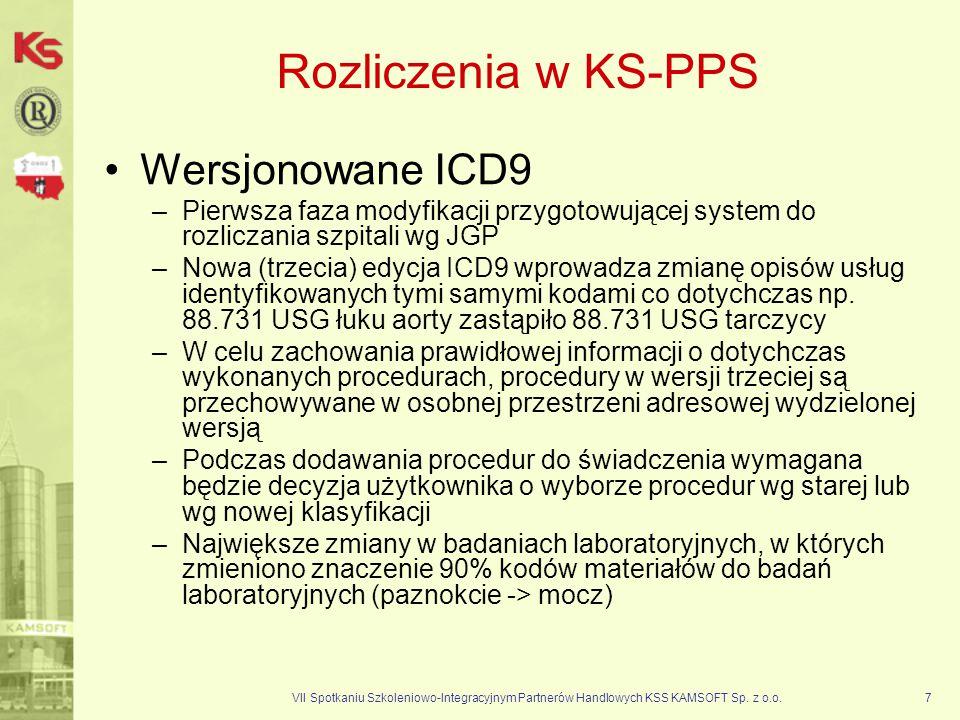 VII Spotkaniu Szkoleniowo-Integracyjnym Partnerów Handlowych KSS KAMSOFT Sp. z o.o.7 Rozliczenia w KS-PPS Wersjonowane ICD9 –Pierwsza faza modyfikacji