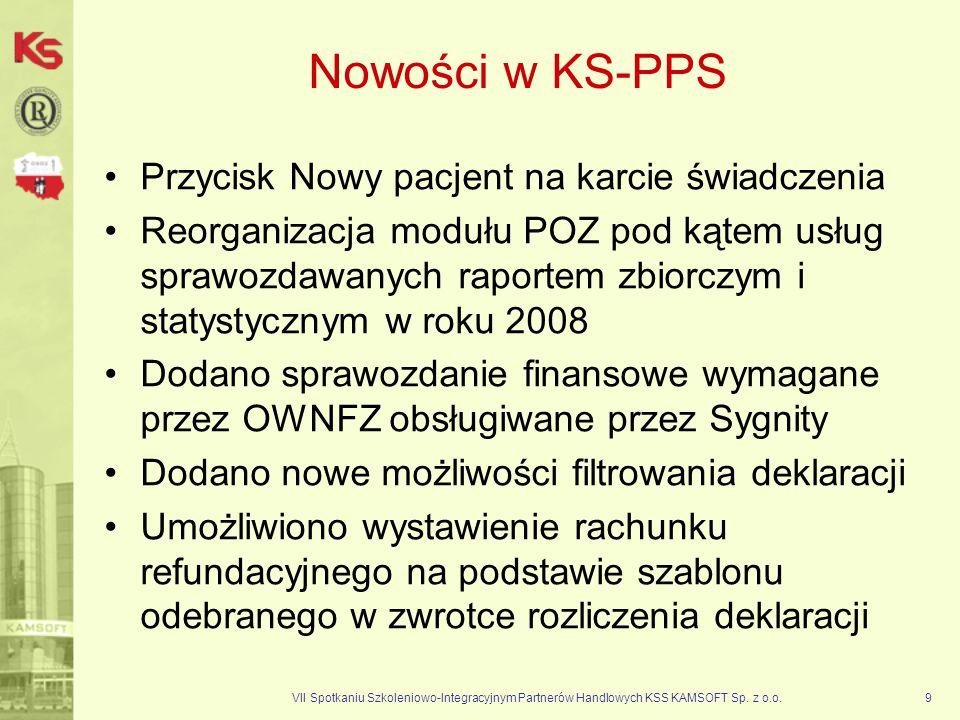 VII Spotkaniu Szkoleniowo-Integracyjnym Partnerów Handlowych KSS KAMSOFT Sp. z o.o.9 Nowości w KS-PPS Przycisk Nowy pacjent na karcie świadczenia Reor