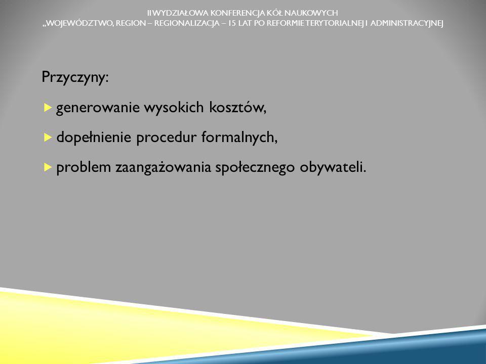 Przyczyny:  generowanie wysokich kosztów,  dopełnienie procedur formalnych,  problem zaangażowania społecznego obywateli.