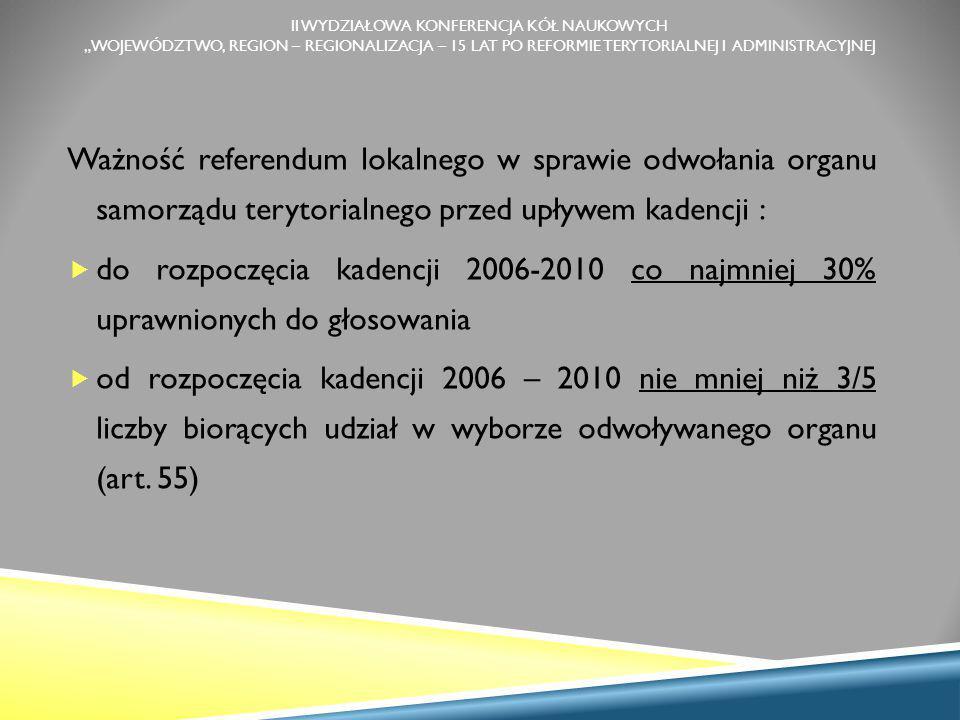 """II WYDZIAŁOWA KONFERENCJA KÓŁ NAUKOWYCH """"WOJEWÓDZTWO, REGION – REGIONALIZACJA – 15 LAT PO REFORMIE TERYTORIALNEJ I ADMINISTRACYJNEJ Ważność referendum lokalnego w sprawie odwołania organu samorządu terytorialnego przed upływem kadencji :  do rozpoczęcia kadencji 2006-2010 co najmniej 30% uprawnionych do głosowania  od rozpoczęcia kadencji 2006 – 2010 nie mniej niż 3/5 liczby biorących udział w wyborze odwoływanego organu (art."""