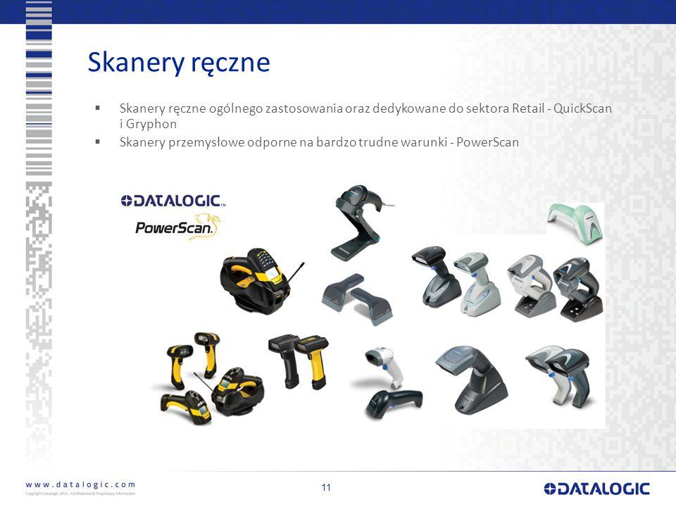 Skanery ręczne 11  Skanery ręczne ogólnego zastosowania oraz dedykowane do sektora Retail - QuickScan i Gryphon  Skanery przemysłowe odporne na bardzo trudne warunki - PowerScan