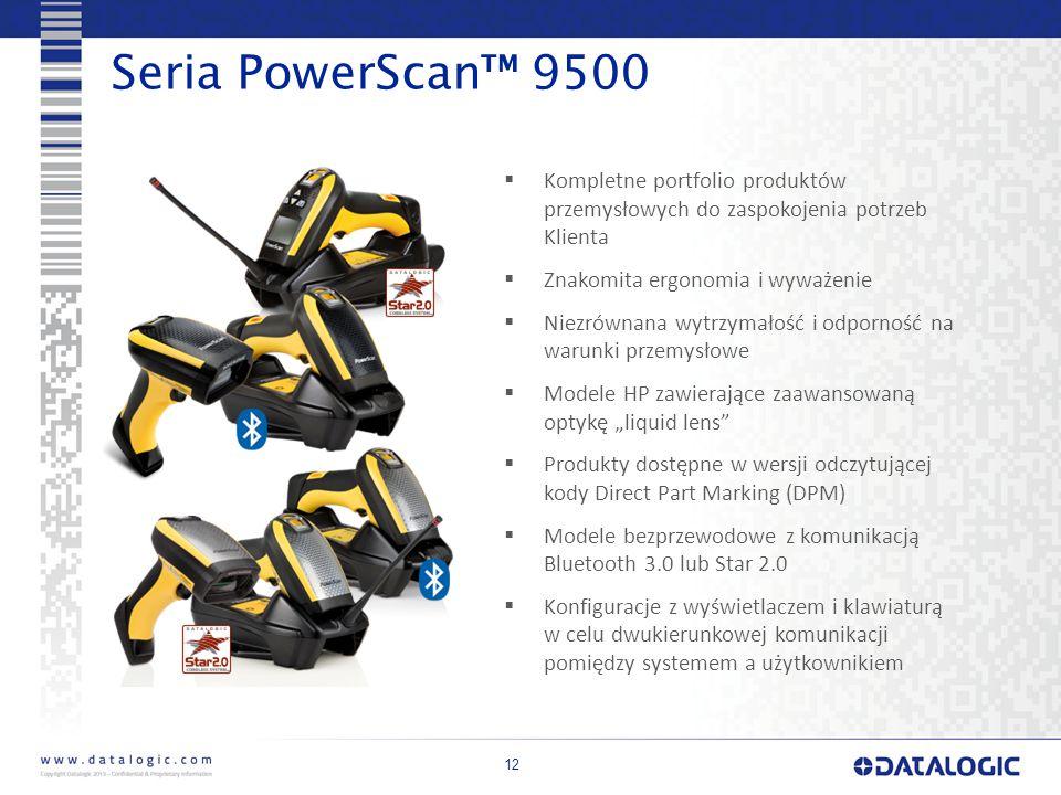 """12 Seria PowerScan™ 9500  Kompletne portfolio produktów przemysłowych do zaspokojenia potrzeb Klienta  Znakomita ergonomia i wyważenie  Niezrównana wytrzymałość i odporność na warunki przemysłowe  Modele HP zawierające zaawansowaną optykę """"liquid lens  Produkty dostępne w wersji odczytującej kody Direct Part Marking (DPM)  Modele bezprzewodowe z komunikacją Bluetooth 3.0 lub Star 2.0  Konfiguracje z wyświetlaczem i klawiaturą w celu dwukierunkowej komunikacji pomiędzy systemem a użytkownikiem"""