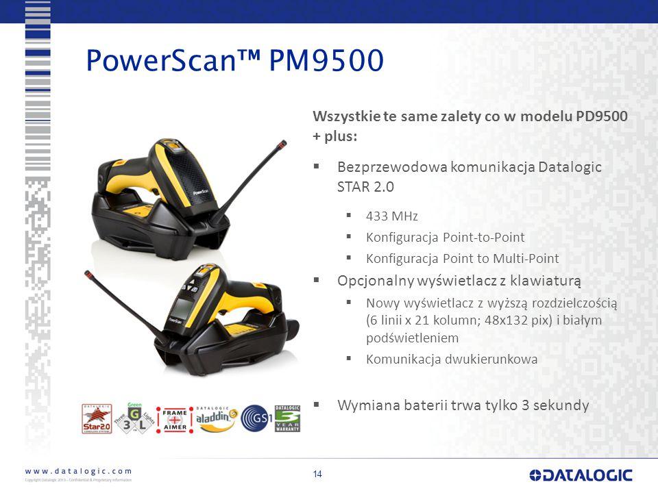 14 PowerScan™ PM9500 Wszystkie te same zalety co w modelu PD9500 + plus:  Bezprzewodowa komunikacja Datalogic STAR 2.0  433 MHz  Konfiguracja Point-to-Point  Konfiguracja Point to Multi-Point  Opcjonalny wyświetlacz z klawiaturą  Nowy wyświetlacz z wyższą rozdzielczością (6 linii x 21 kolumn; 48x132 pix) i białym podświetleniem  Komunikacja dwukierunkowa  Wymiana baterii trwa tylko 3 sekundy