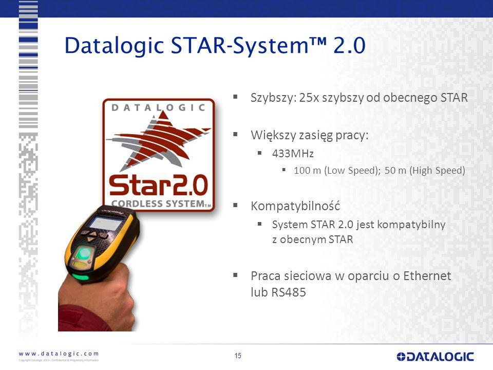 15 Datalogic STAR-System™ 2.0  Szybszy: 25x szybszy od obecnego STAR  Większy zasięg pracy:  433MHz  100 m (Low Speed); 50 m (High Speed)  Kompatybilność  System STAR 2.0 jest kompatybilny z obecnym STAR  Praca sieciowa w oparciu o Ethernet lub RS485