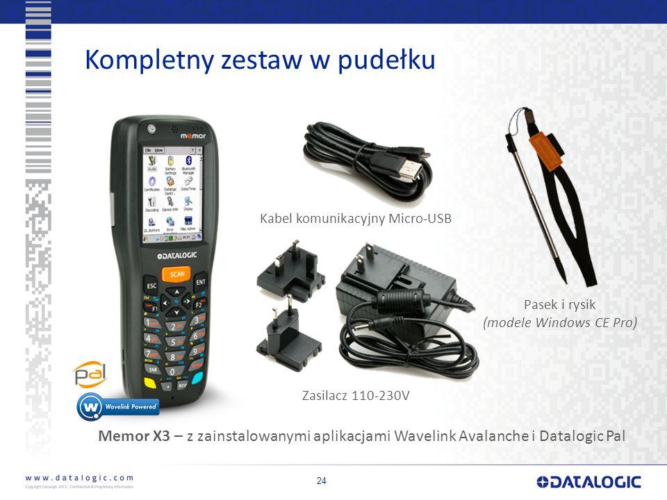 24 Kompletny zestaw w pudełku Kabel komunikacyjny Micro-USB Zasilacz 110-230V Memor X3 – z zainstalowanymi aplikacjami Wavelink Avalanche i Datalogic Pal Pasek i rysik (modele Windows CE Pro)