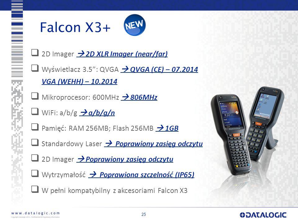 25 Falcon X3+  2D Imager  2D XLR Imager (near/far)  Wyświetlacz 3.5 : QVGA  QVGA (CE) – 07.2014 VGA (WEHH) – 10.2014  Mikroprocesor: 600MHz  806MHz  WiFi: a/b/g  a/b/g/n  Pamięć: RAM 256MB; Flash 256MB  1GB  Standardowy Laser  Poprawiony zasięg odczytu  2D Imager  Poprawiony zasięg odczytu  Wytrzymałość  Poprawiona szczelność (IP65)  W pełni kompatybilny z akcesoriami Falcon X3