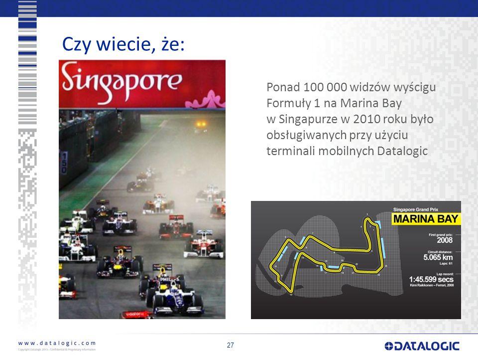 27 Czy wiecie, że: Ponad 100 000 widzów wyścigu Formuły 1 na Marina Bay w Singapurze w 2010 roku było obsługiwanych przy użyciu terminali mobilnych Datalogic