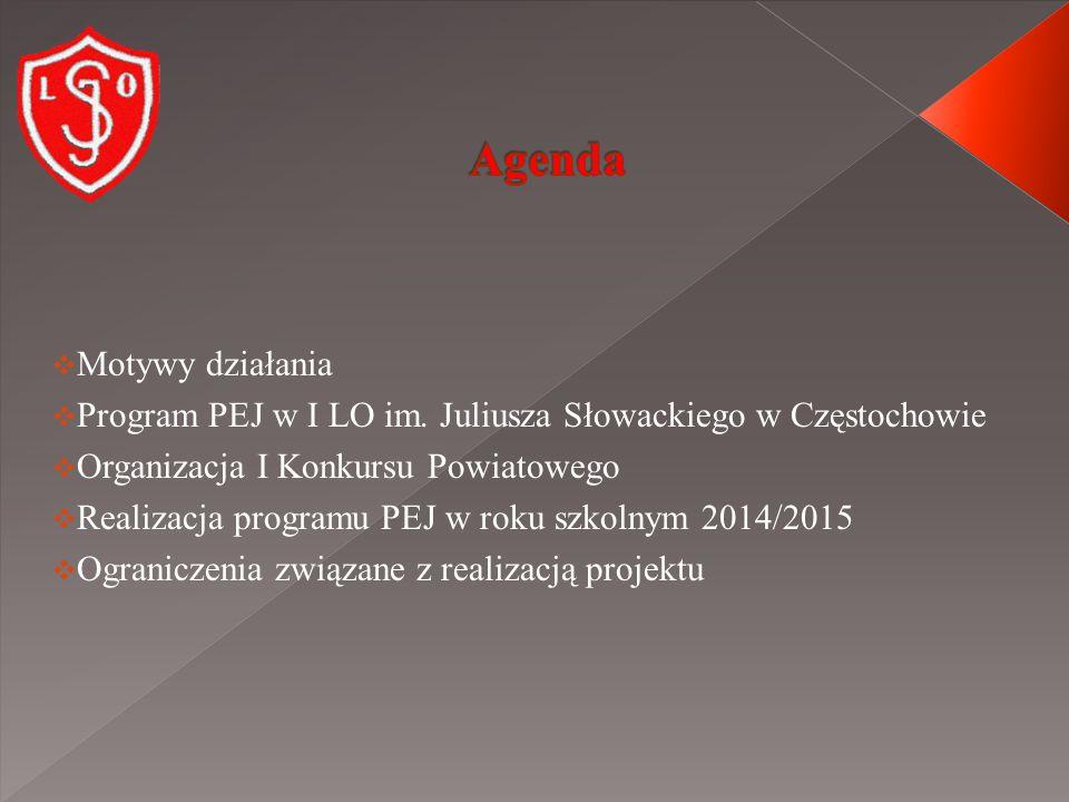  Motywy działania  Program PEJ w I LO im.