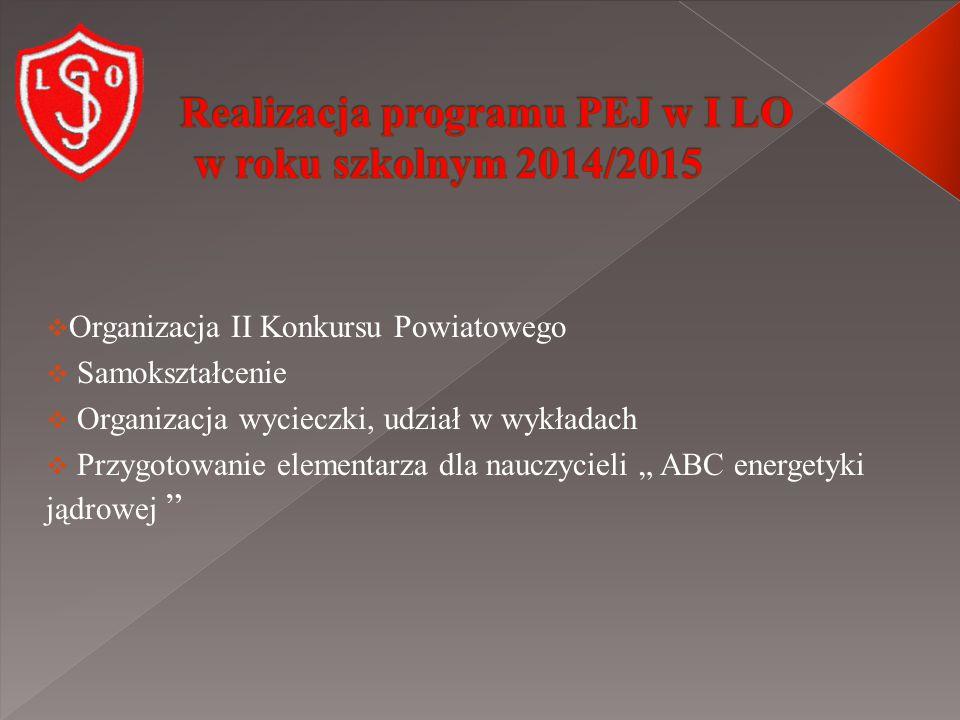 """ Organizacja II Konkursu Powiatowego  Samokształcenie  Organizacja wycieczki, udział w wykładach  Przygotowanie elementarza dla nauczycieli """" ABC energetyki jądrowej"""