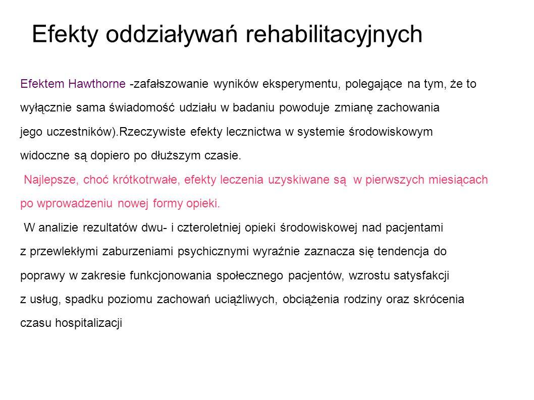 Efekty oddziaływań rehabilitacyjnych Efektem Hawthorne -zafałszowanie wyników eksperymentu, polegające na tym, że to wyłącznie sama świadomość udziału