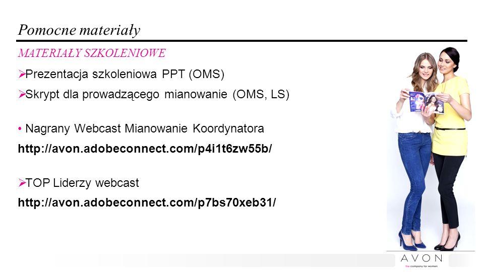 Pomocne materiały  Prezentacja szkoleniowa PPT (OMS)  Skrypt dla prowadzącego mianowanie (OMS, LS) Nagrany Webcast Mianowanie Koordynatora http://avon.adobeconnect.com/p4i1t6zw55b/  TOP Liderzy webcast http://avon.adobeconnect.com/p7bs70xeb31/ MATERIAŁY SZKOLENIOWE