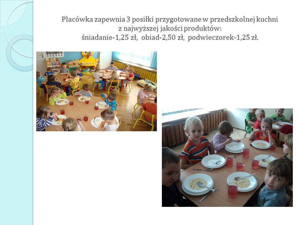 Placówka zapewnia 3 posiłki przygotowane w przedszkolnej kuchni z najwyższej jakości produktów: śniadanie-1,25 zł, obiad-2,50 zł, podwieczorek-1,25 zł