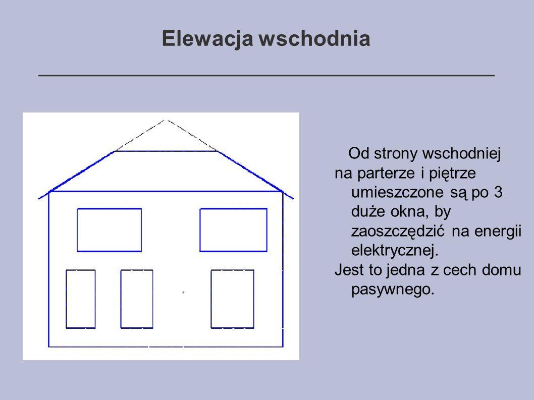 Elewacja wschodnia ______________________________________ Od strony wschodniej na parterze i piętrze umieszczone są po 3 duże okna, by zaoszczędzić na energii elektrycznej.
