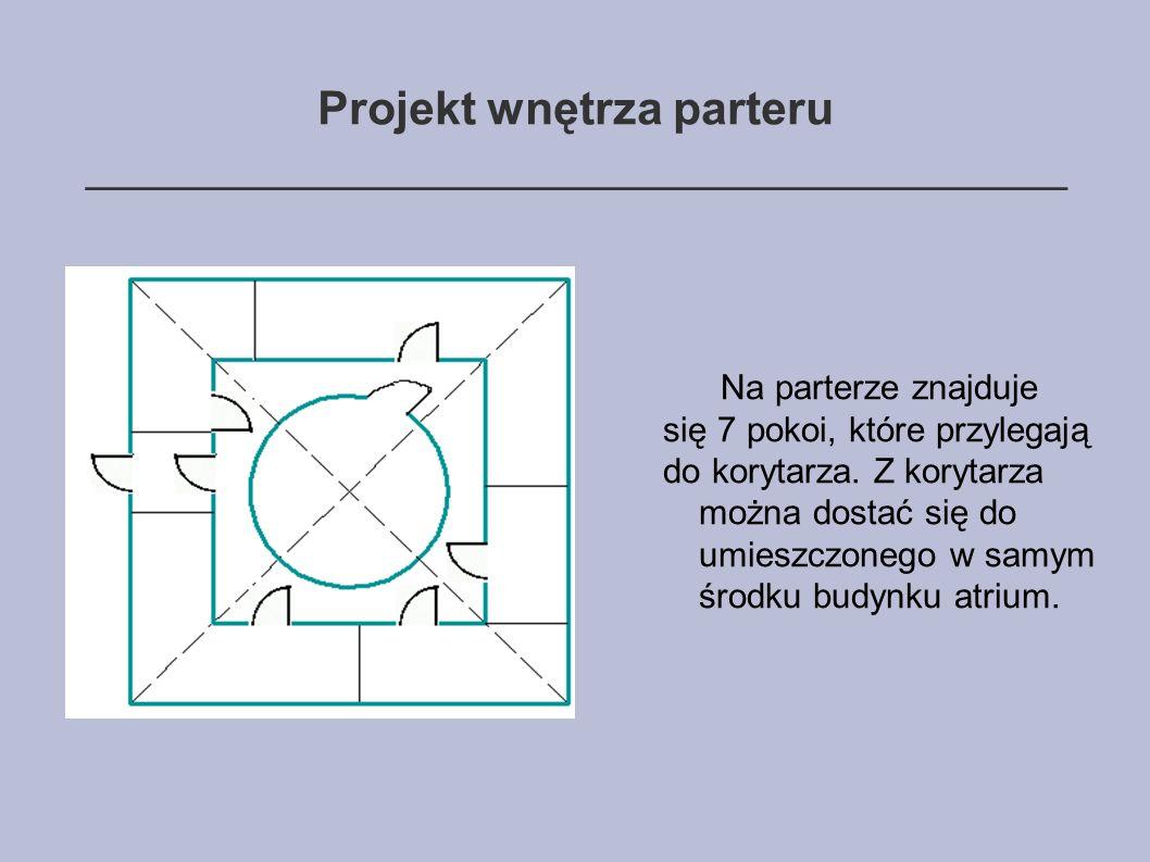 Projekt wnętrza parteru ______________________________________ Na parterze znajduje się 7 pokoi, które przylegają do korytarza.