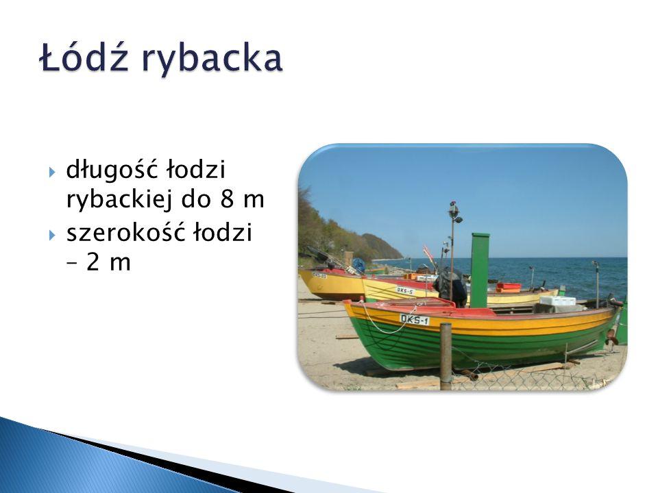  długość łodzi rybackiej do 8 m  szerokość łodzi – 2 m