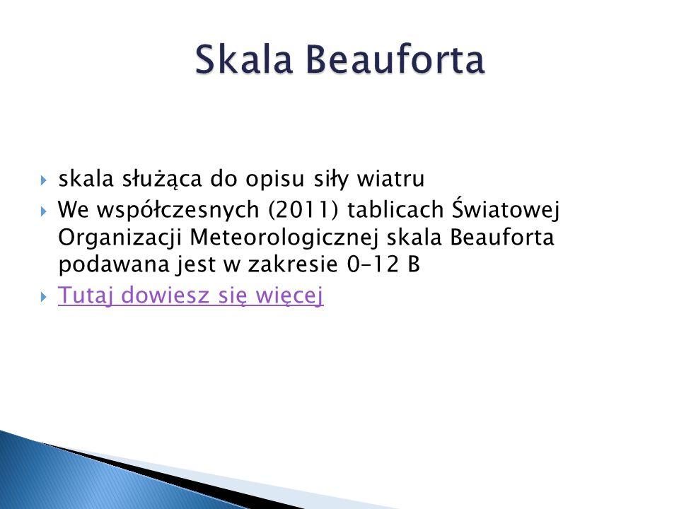  skala służąca do opisu siły wiatru  We współczesnych (2011) tablicach Światowej Organizacji Meteorologicznej skala Beauforta podawana jest w zakresie 0–12 B  Tutaj dowiesz się więcej Tutaj dowiesz się więcej