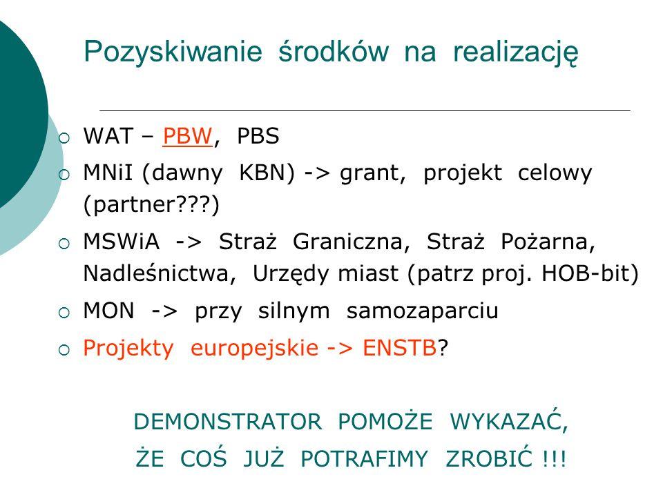 Pozyskiwanie środków na realizację  WAT – PBW, PBS  MNiI (dawny KBN) -> grant, projekt celowy (partner???)  MSWiA -> Straż Graniczna, Straż Pożarna
