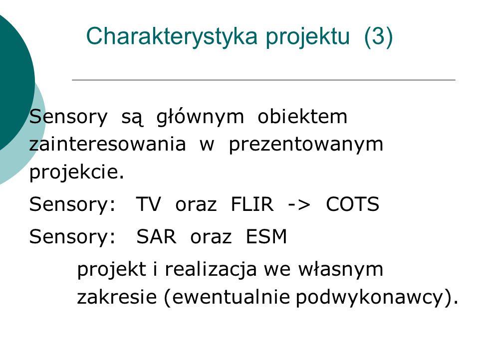 Charakterystyka projektu (3) Sensory są głównym obiektem zainteresowania w prezentowanym projekcie. Sensory: TV oraz FLIR -> COTS Sensory: SAR oraz ES
