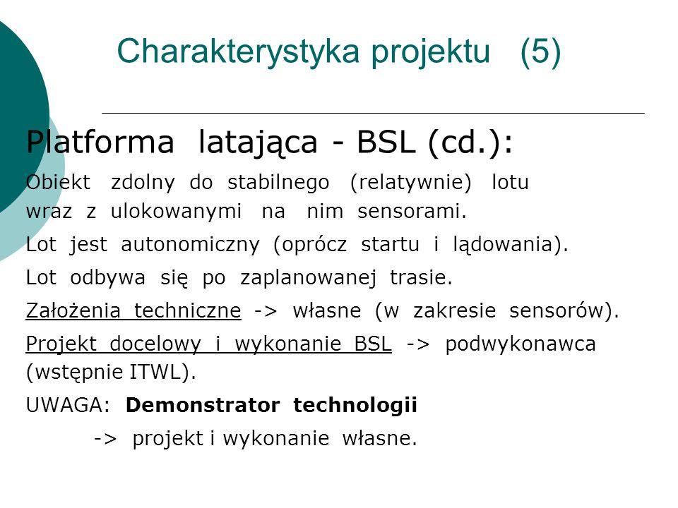 Charakterystyka projektu (5) Platforma latająca - BSL (cd.): Obiekt zdolny do stabilnego (relatywnie) lotu wraz z ulokowanymi na nim sensorami. Lot je