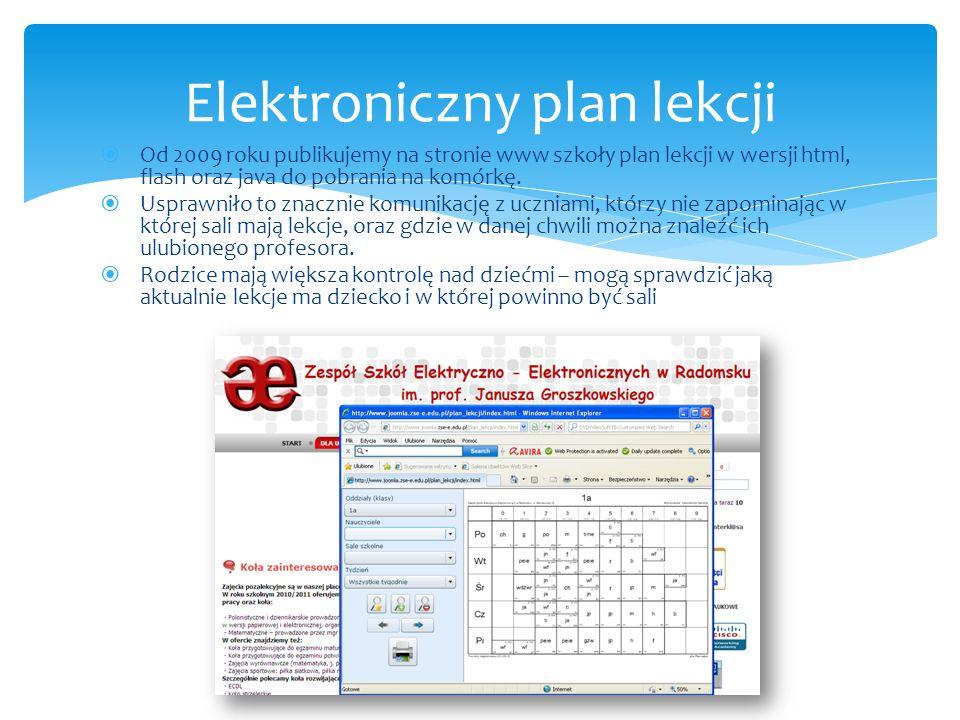  Od 2009 roku publikujemy na stronie www szkoły plan lekcji w wersji html, flash oraz java do pobrania na komórkę.