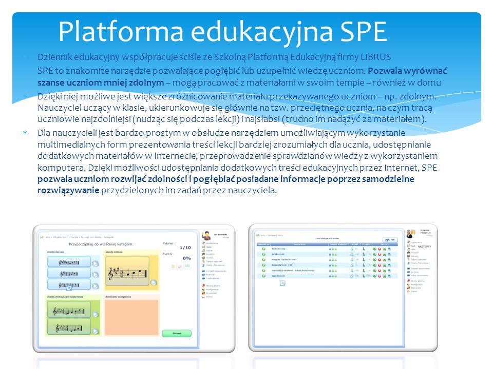  Dziennik edukacyjny współpracuje ściśle ze Szkolną Platformą Edukacyjną firmy LIBRUS  SPE to znakomite narzędzie pozwalające pogłębić lub uzupełnić wiedzę uczniom.