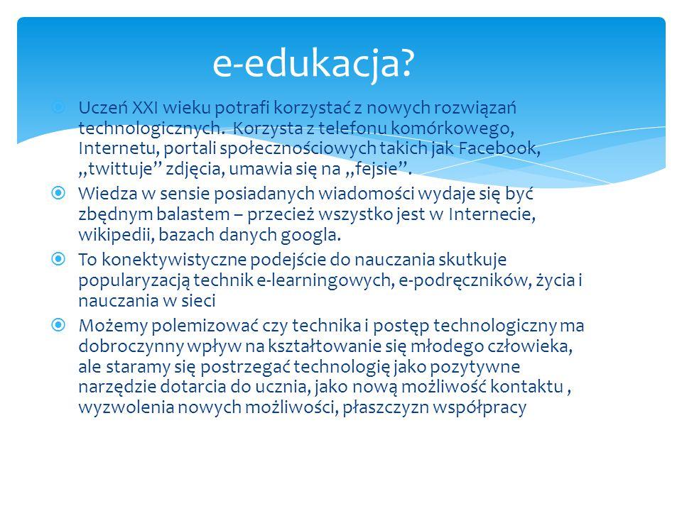  Uczeń XXI wieku potrafi korzystać z nowych rozwiązań technologicznych.
