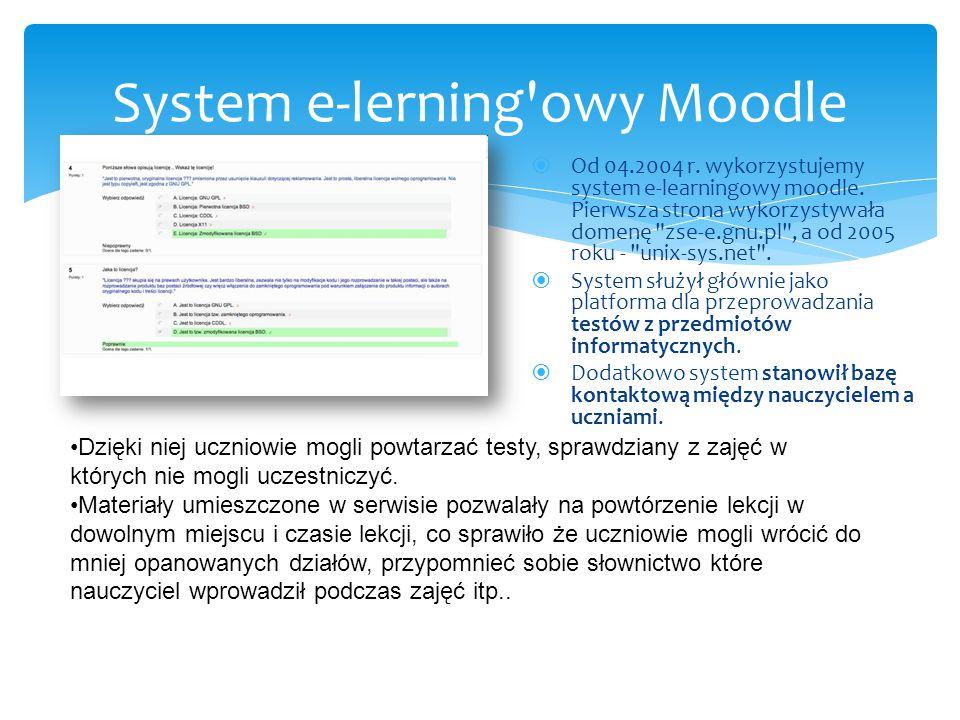  Od 04.2004 r. wykorzystujemy system e-learningowy moodle.