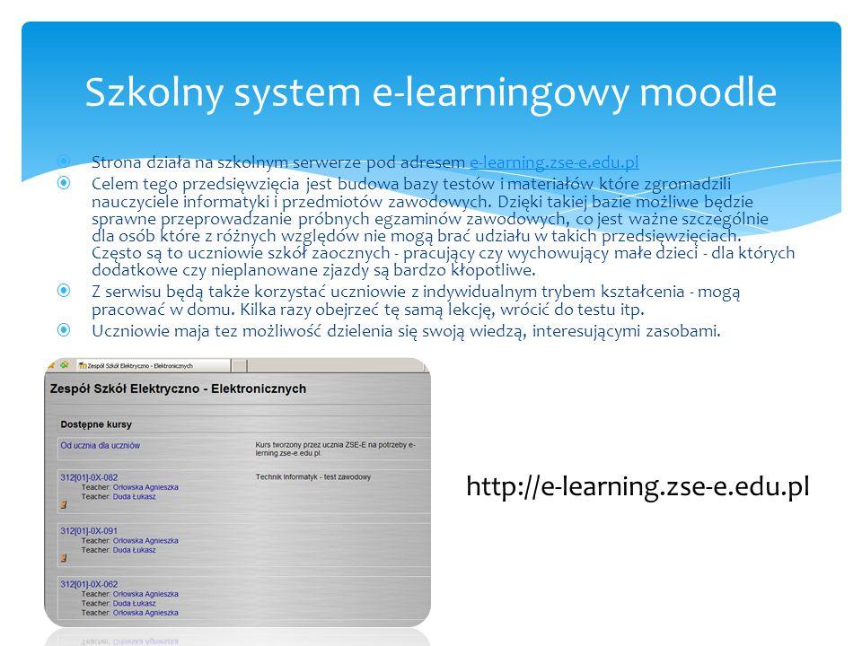  Strona działa na szkolnym serwerze pod adresem e-learning.zse-e.edu.ple-learning.zse-e.edu.pl  Celem tego przedsięwzięcia jest budowa bazy testów i materiałów które zgromadzili nauczyciele informatyki i przedmiotów zawodowych.
