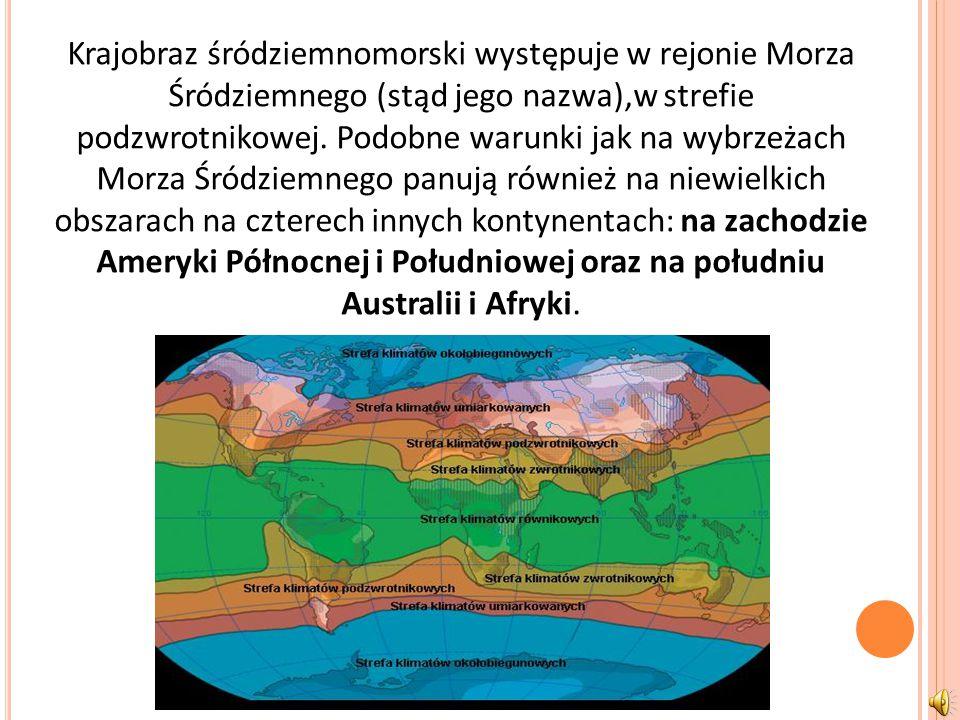 Krajobraz śródziemnomorski występuje w rejonie Morza Śródziemnego (stąd jego nazwa),w strefie podzwrotnikowej.