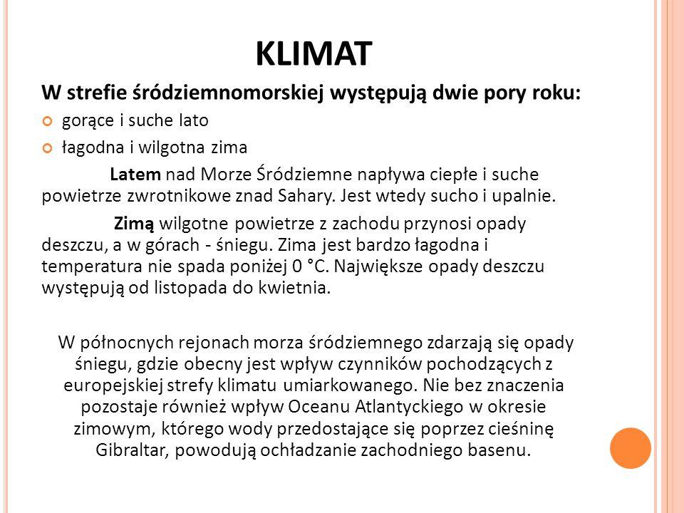 KLIMAT W strefie śródziemnomorskiej występują dwie pory roku: gorące i suche lato łagodna i wilgotna zima Latem nad Morze Śródziemne napływa ciepłe i suche powietrze zwrotnikowe znad Sahary.