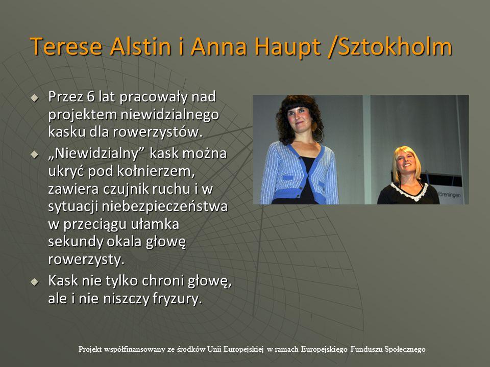 Terese Alstin i Anna Haupt /Sztokholm  Przez 6 lat pracowały nad projektem niewidzialnego kasku dla rowerzystów.