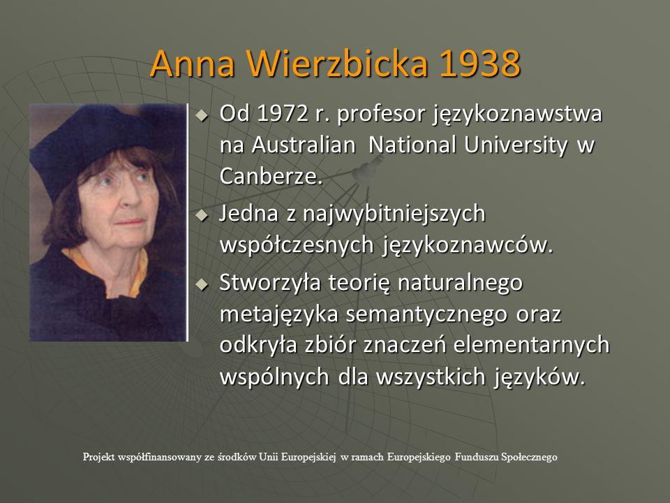 Anna Wierzbicka 1938  Od 1972 r. profesor językoznawstwa na Australian National University w Canberze.  Jedna z najwybitniejszych współczesnych języ
