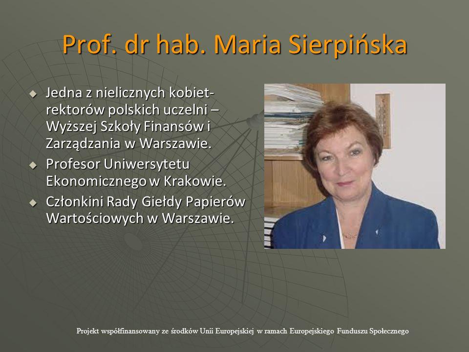 Prof. dr hab. Maria Sierpińska  Jedna z nielicznych kobiet- rektorów polskich uczelni – Wyższej Szkoły Finansów i Zarządzania w Warszawie.  Profesor