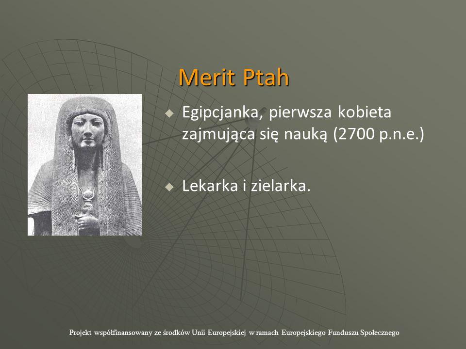 Merit Ptah   Egipcjanka, pierwsza kobieta zajmująca się nauką (2700 p.n.e.)   Lekarka i zielarka. Projekt współfinansowany ze środków Unii Europej