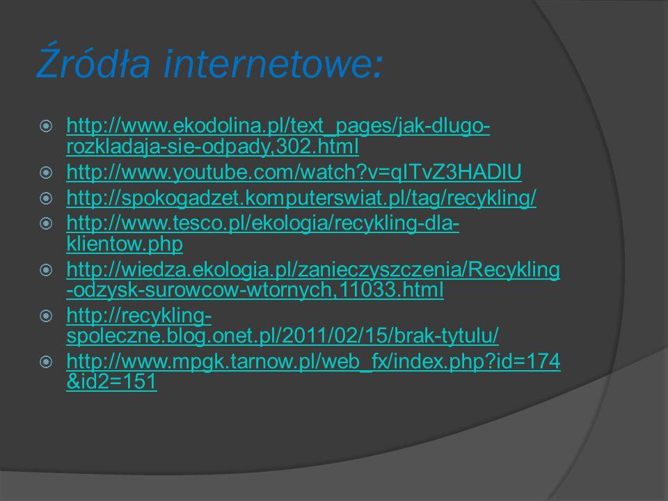 Źródła internetowe:  http://www.ekodolina.pl/text_pages/jak-dlugo- rozkladaja-sie-odpady,302.html http://www.ekodolina.pl/text_pages/jak-dlugo- rozkl
