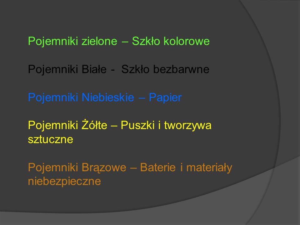 Pojemniki zielone – Szkło kolorowe Pojemniki Białe - Szkło bezbarwne Pojemniki Niebieskie – Papier Pojemniki Żółte – Puszki i tworzywa sztuczne Pojemn