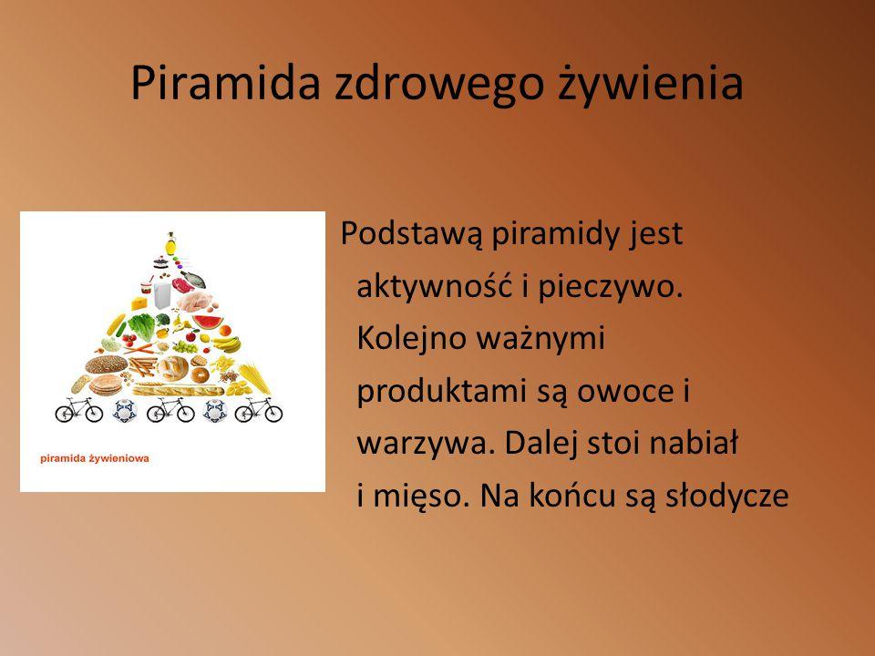 Piramida zdrowego żywienia Podstawą piramidy jest aktywność i pieczywo.