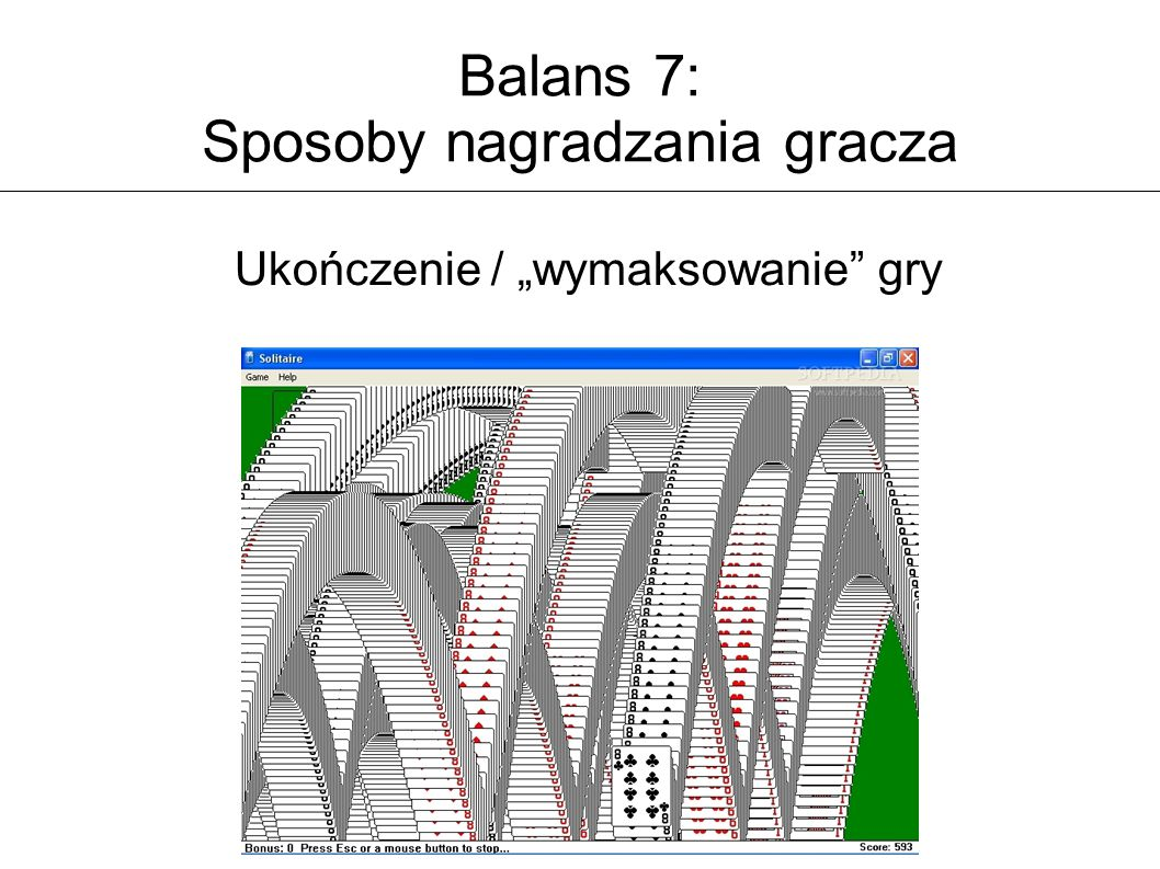 """Balans 7: Sposoby nagradzania gracza Ukończenie / """"wymaksowanie"""" gry"""