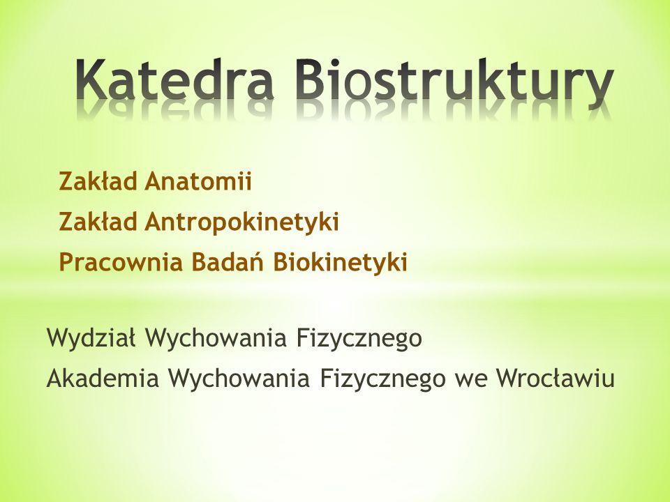 Wydział Wychowania Fizycznego Akademia Wychowania Fizycznego we Wrocławiu Zakład Anatomii Zakład Antropokinetyki Pracownia Badań Biokinetyki