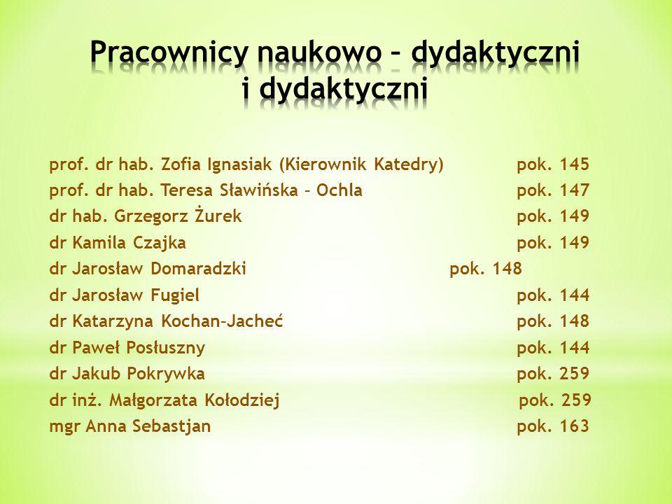 prof. dr hab. Zofia Ignasiak (Kierownik Katedry)pok. 145 prof. dr hab. Teresa Sławińska – Ochlapok. 147 dr hab. Grzegorz Żurekpok. 149 dr Kamila Czajk